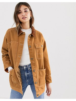 Monki denim jacket with quilted lining and cord collar in rust