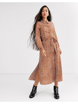 Monki dot print tie waist midi shirt dress in rust-brown