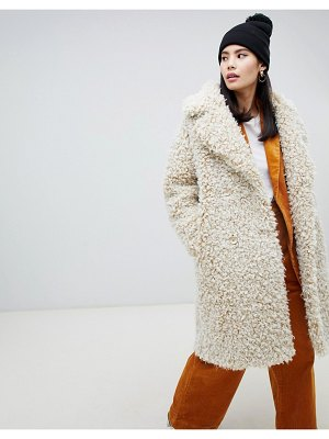 Monki double breasted teddy coat in off white