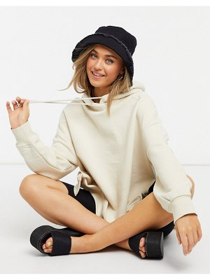Monki elisia organic cotton oversized hoodie in beige