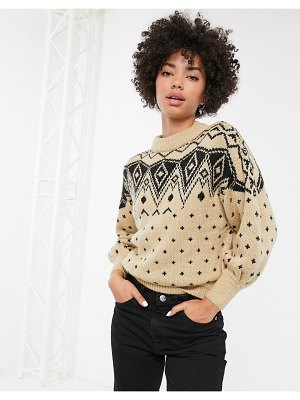 Monki fair isle print crew neck sweater in cream-beige