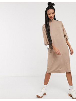 Monki fey jersey high neck t-shirt dress in taupe-beige