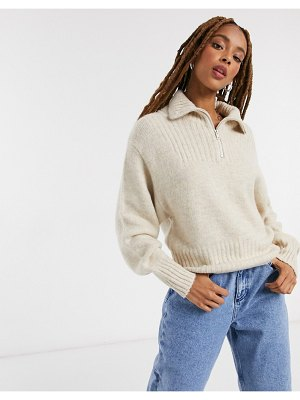 Monki fonda zip up knitted sweater in beige