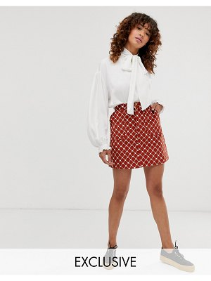 Monki heart chain print a-line cord mini skirt in rust-brown