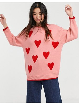 Monki heart print round neck sweater in pink