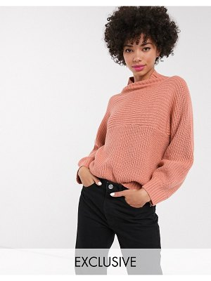 Monki high neck rib knit sweater in dusty pink