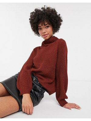 Monki high neck rib knit sweater in rust-brown