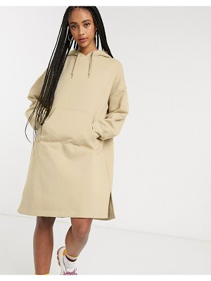 Monki hoodie sweater dress in beige