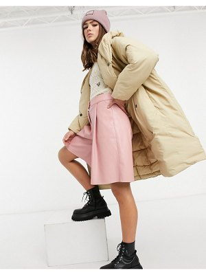 Monki janna recycled padded duvet coat with hood in beige