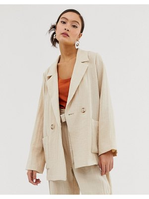 Monki linen mix blazer in beige