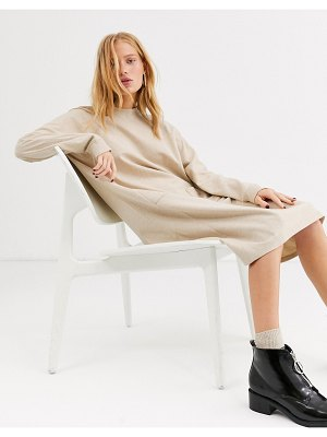 Monki long-sleeve midi t-shirt dress in off white