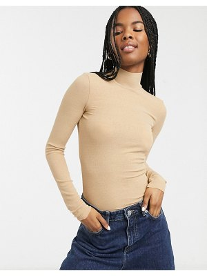 Monki long sleeve roll neck in beige