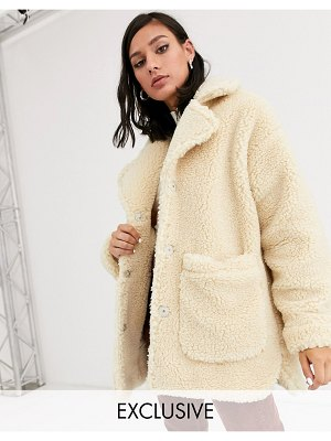 Monki longline teddy jacket with oversized pockets in beige