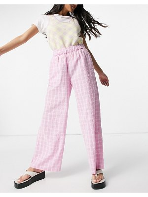 Monki maddy wide leg pants in pink check set