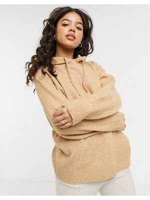 Monki maryanne recycled knit hoodie set in brown