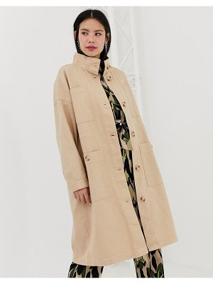 Monki midi lightweight coat with oversized pockets in beige