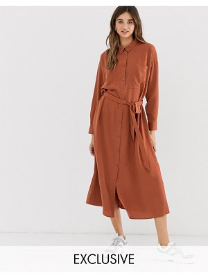 Monki midi belted shirt dress with pockets in rust-brown