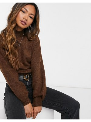 Monki miriam high neck sweater in brown