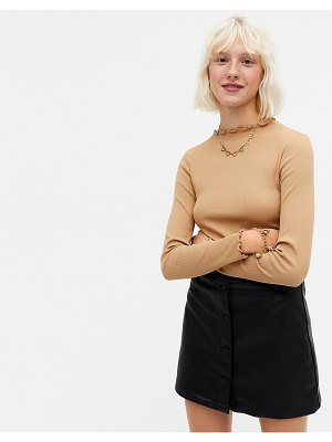 Monki molly organic cotton ribbed long sleeve top in camel-neutral