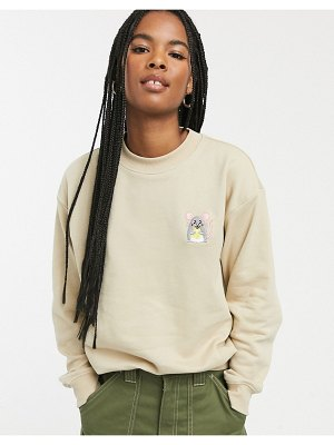 Monki mouse face embroidered sweat in beige