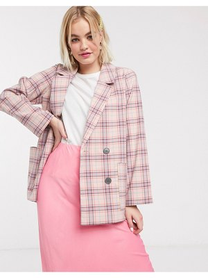 Monki multi check double breasted blazer in pink