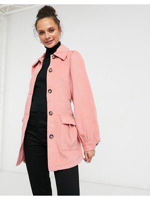 Monki nina recycled wool belted jacket in pink