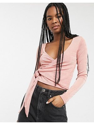 Monki olina jersey wrap top in pink