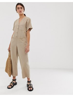 Monki organic cotton denim boilersuit in beige