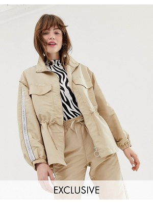Monki oversized utility jacket with drawstring in beige