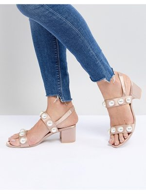 Monki pearl detail block heeled sandal