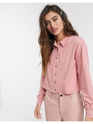Monki piliian organic cotton long sleeve jersey shirt in rose-pink