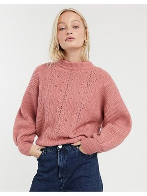 Monki pointelle knit sweater in pink
