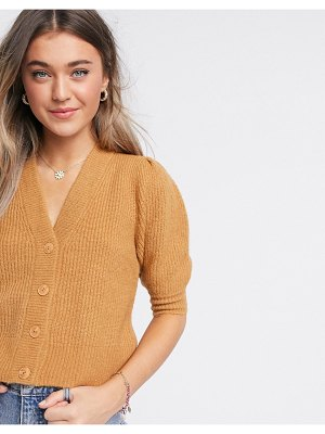 Monki puffy fluffy rib short sleeve cardigan in beige-brown