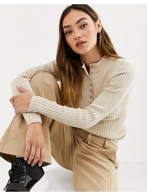 Monki ribbed button-down long sleeve sweater in beige