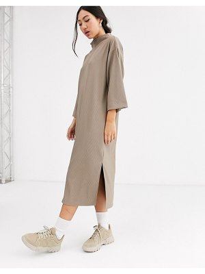 Monki ribbed midi t-shirt dress with side slits in beige