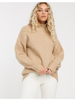 Monki ribbed roll neck sweater in beige