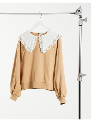 Monki selma cotton sweatshirt with collar in beige-neutral