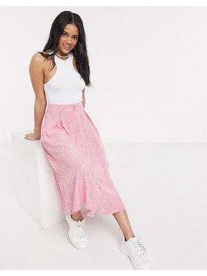 Monki sigrid dot print button through midi skirt in pink