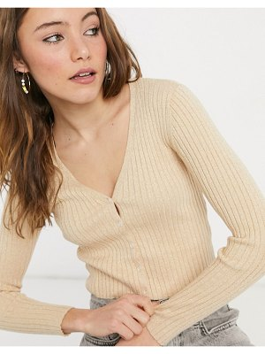 Monki silja v-neck glitter cardigan in camel-gold