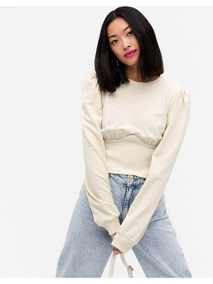 Monki sintorn corset detail sweater in off white-cream