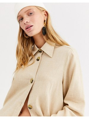 Monki soft flannel oversized shirt in beige