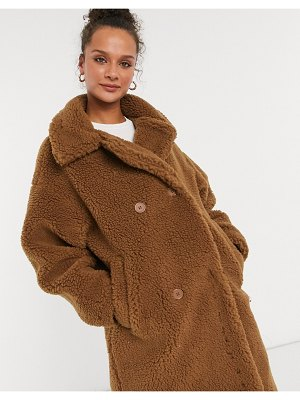 Monki teddy coat in brown