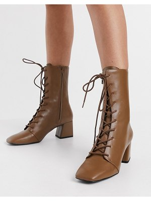 Monki thelma faux leather lace up heeled boot in tan