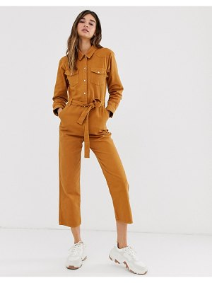 Monki tie waist organic cotton denim boilersuit in rust-brown