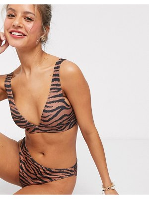 Monki tiger print highwaist bikini brief in brown