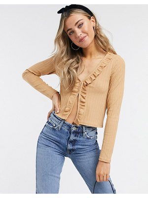Monki tonis ruffle front cardigan in beige