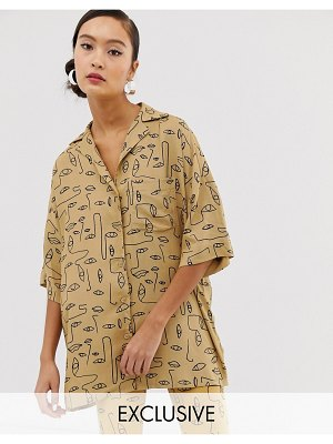 Monki two-piece face print oversized blouse in beige