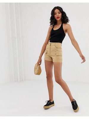 Monki utility shorts in beige