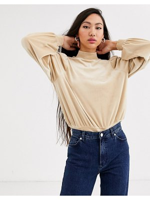 Monki velour puff sleeves sweatshirt in beige