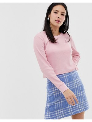 Monki cotton long sleeve top in pink